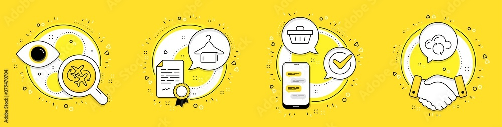 Fototapeta Connecting flight, Shopping basket and Clean towel line icons set. Licence, cell phone and deal vector icons. Cloud sync sign. Airport, Sale offer, Laundry hanger. Document storage. Vector
