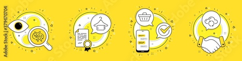 Fototapeta Connecting flight, Shopping basket and Clean towel line icons set. Licence, cell phone and deal vector icons. Cloud sync sign. Airport, Sale offer, Laundry hanger. Document storage. Vector obraz