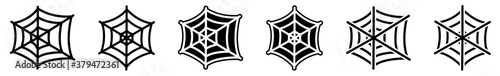 Fotografija Spider Web Icon Black | Halloween Illustration | Webs Symbol | Creepy Net Logo |