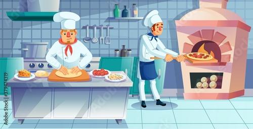 Valokuvatapetti Restaurant team character engaged in traditional italian pizza preparation process