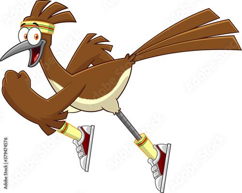 Fototapeta Road Runner Bird Cartoon Character Jogging. Vector Illustration Isolated On White Background obraz
