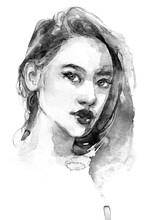 Asian Japanese Woman Portrait In Watercolor With Splash And Splatter Black And White