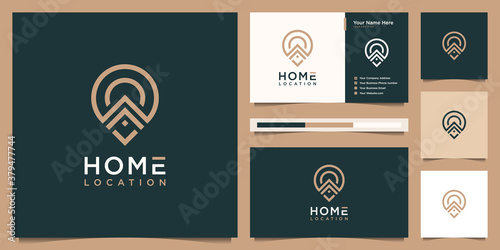 Fotografía home location logo design and business card template