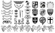 Vector Heraldic Set Of Illustr...