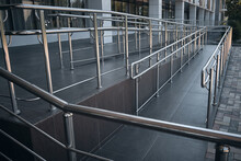 Ramp For People With Disabilities And Chrome Railings