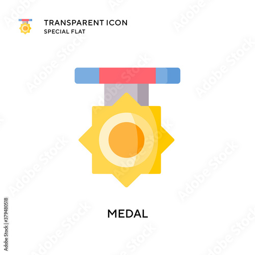 Medal vector icon. Flat style illustration. EPS 10 vector. Canvas Print