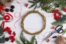 Tutorial: How To Make Easy Christmas Wreath At Home Of Blueberry Branches. Step By Step Photo Instruction. DIY Art Project. Step 1.