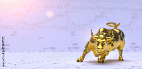 Fototapeta Wallstreet bull and bear on stock chart background. Bullish Stock exchange concept obraz