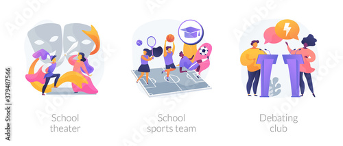 After-school activity abstract concept vector illustration set. School theater, sports team, debating club, kids drama class, speaking class, communication skill, workshop abstract metaphor. - 379487566