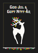 Christmas Dear With Text In Swedish (Sweden) God Jul Och Gott Nytt år. Means Merry Christmas And Happy New Yeas. Vector Illustration.