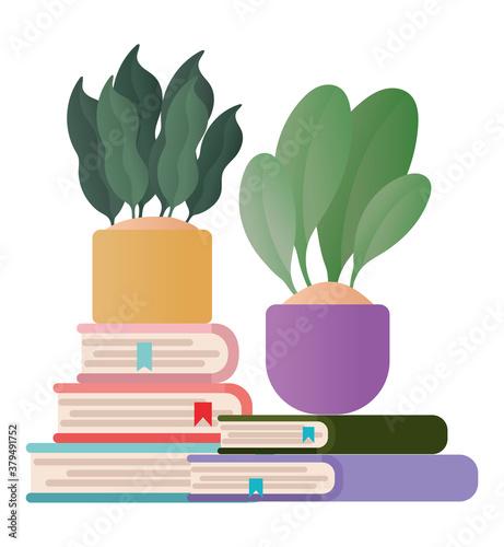 Fototapeta books with plants pots vector design obraz