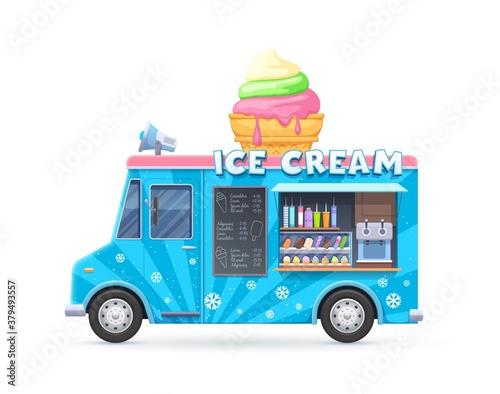 Fototapeta Ice cream food truck, isolated vector van, cartoon car for street food icecream desserts selling