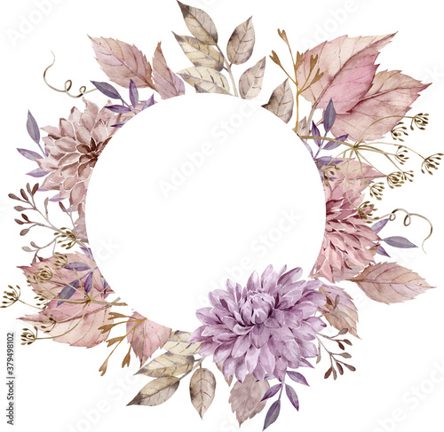 Fotografía Watercolor fall floral circle frame with blush pink leaves, dahlias and asters