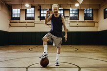 Elderly Man Playing Basketball