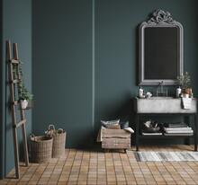 Dark Green Rustic Bathroom, 3d...
