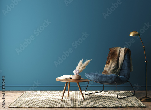 Home interior mock-up with dark green armchair, table and decor in living room, 3d render - 379500941