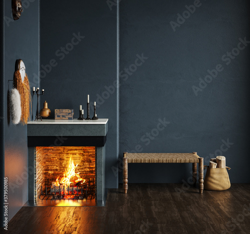 Fototapeta Home interior, luxury modern dark living room interior, black empty wall mock up, 3d render obraz