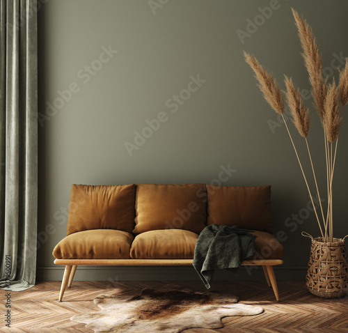 Modern dark green home interior with brown couch and pampas in wicker basket, 3d render - 379500991