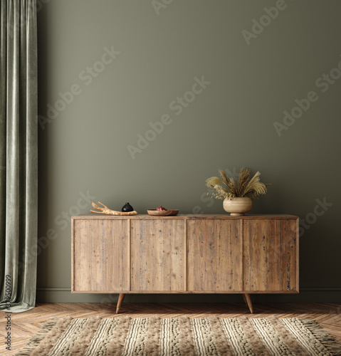 Commode with decor in living room interior, dark green wall mock up background, 3D render - 379500999