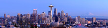 Panoramic View Of Seattle Skyline At Sunset
