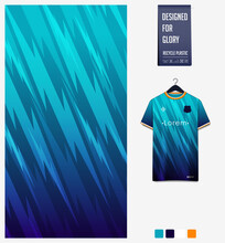 Fabric Textile Design In Blue Thunder Pattern For  Soccer Jersey, Football Kit, Bicycle, Racing, E-sport, Basketball, Sports Uniform. T-shirt Mockup Template. Abstract Background. Vector.