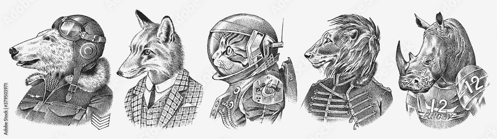 Fototapeta Fox and Rhino dressed up in Suit. Cat astronaut or Spaceman. Lion and Polar bear. Fashion Animal characters set. Hand drawn sketch. Vector engraved illustration for label, logo and T-shirts or tattoo.