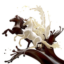 Food Design Element Isolated On White Background. Liquid Horses Made Of Brown Glossy Caramele Coffee And Fat Milk Running Making Splashes With Drops.