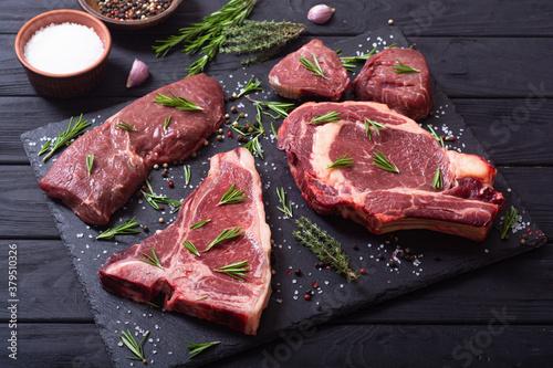 Fototapeta Set of raw beef steak obraz na płótnie