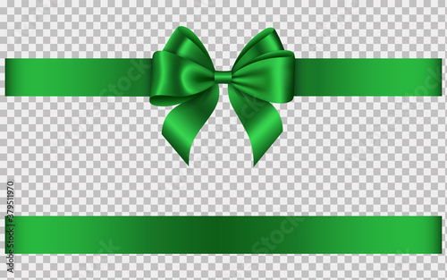Obraz green ribbon with bow - fototapety do salonu