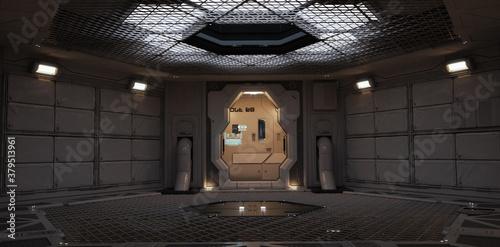 Obraz na plátně Futuristic back drop sci fi corridor room with lighted accents