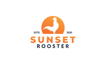Rooster Crowing In Sunset Logo Icon Vector Illustration
