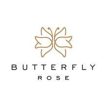 Butterfly Rose Logo Design Tem...