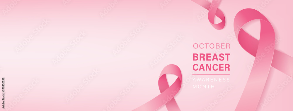Fototapeta Beautiful breast cancer awareness campaign banner with pink ribbon symbols on pastel light pink background and space for text