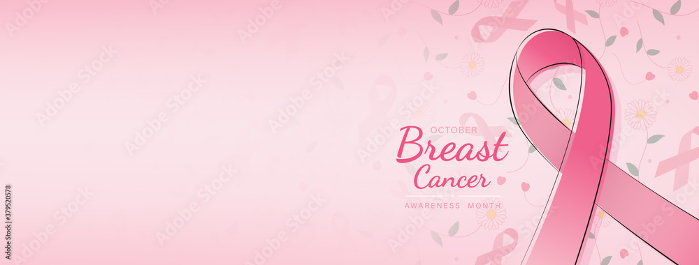 Fototapeta Lovely breast cancer awareness campaign banner with ribbon symbol on pink gradient  banner background and space for text