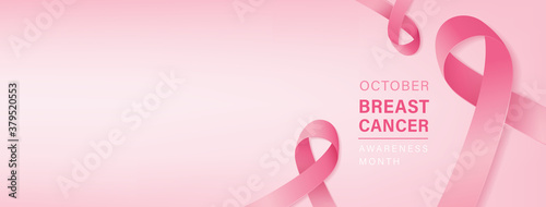 Beautiful breast cancer awareness campaign banner with pink ribbon symbols on pa Lerretsbilde