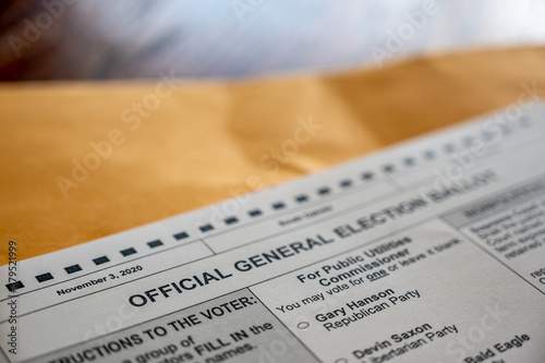 Obraz na plátně Selective focus on a section of a 2020 US general election for president
