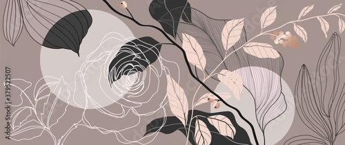 Luxury Rose background vector with golden metallic decorate - fototapety na wymiar