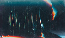 Grunge Abstract Background. Damaged Screen. Orange Glitch Noise On Blue Scratched Texture With Dust.