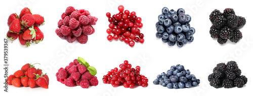 Collage of different tasty berries on white background