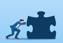 Businessman Pushes A Puzzle. Success Concept. Everyone Does His Job. Vector Illustration In Flat Style.