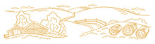 The Farm Is Livestock. Rural Landscape. Hay Fodder In The Barnyard. Village Field And The Hills. Hand Drawn Sketch. Countryside. Contour Vector Line. Horizontal Banner.