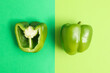 canvas print picture - Fresh pepper on green background, space for text