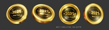 A Set Of Gold Round Signs Of I...
