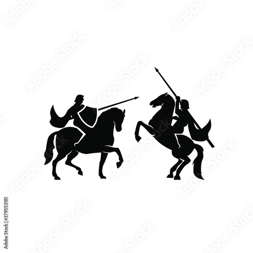 Tablou Canvas A war knight soldier dressed in armor goes to war with his horse logo icon desig