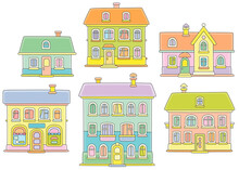 Toy Colorful Town Houses, Vect...