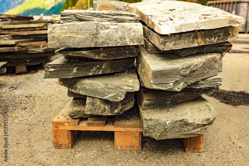 Stone masonry material on construction site Fototapet