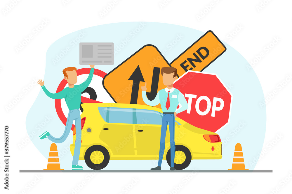 Fototapeta Teacher and Student Learning to Drive, Driving School Concept Cartoon Vector Illustration
