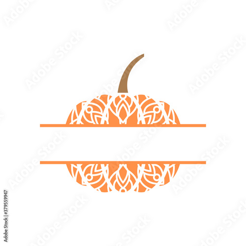 Pumpkin mandala monogram template vector isolated illustration Wallpaper Mural