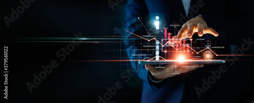 canvas print motiv - ipopba : Digital online marketing, Businessman using tablet and analysis sale data graph growth on modern interface icons on strategy, Solution analysis and development contents onglobal network connection.