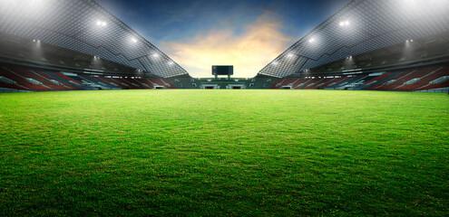 Sunset scene illumination soccer stadium and green grass field. 3D rendering